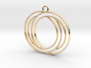 Two circles intertwined in 14k Gold Plated Brass