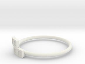 Block Puzzle Ring (Type-S2) in White Natural Versatile Plastic