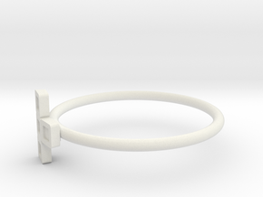 Block Puzzle Ring (Type-T2) in White Natural Versatile Plastic