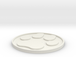 Paw Print Coaster in White Natural Versatile Plastic