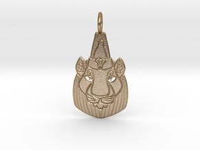 Bast-Mut or Sekhmet-Mut Pendant in Polished Gold Steel