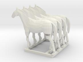1/144 set of 4 horses for Whermacht in White Natural Versatile Plastic