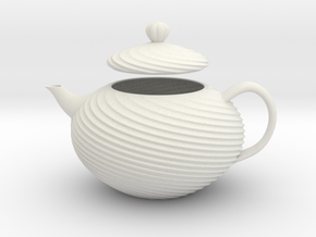 Decorative Teapot in White Natural Versatile Plastic