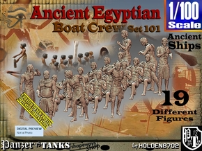 1/100 Ancient Egyptian Boat Crew Set101 in Smooth Fine Detail Plastic