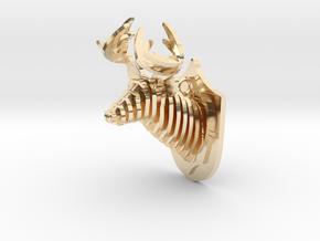 Deer head in 14k Gold Plated Brass