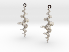 Fractal Sp. Earrings  in Rhodium Plated Brass