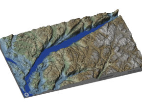 Lysefjord / Lysefjorden Relief Map, Norway in Glossy Full Color Sandstone