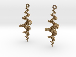 Fractal Sp. Earrings  in Polished Gold Steel