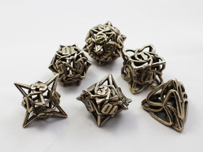 Dice Set in Polished Bronzed Silver Steel