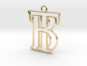 Initials B&T monogram  in 14k Gold Plated Brass