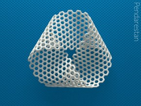 Folded Mobius Triplex Hex in White Processed Versatile Plastic: Small