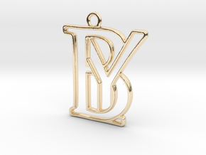 Initials B&Y monogram in 14k Gold Plated Brass