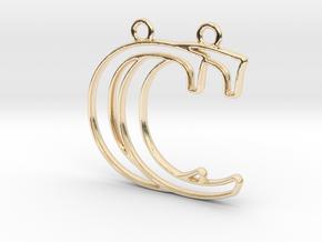 Initials C&C monogram in 14k Gold Plated Brass