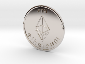 Ethereum Coin ETH in Rhodium Plated Brass