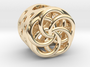 Floral Charm Bead - (Pandora compatible) in 14k Gold Plated Brass