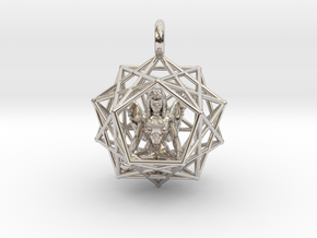 Angel Starship: Sacred Geometry Dodecahedral 27mm in Rhodium Plated Brass