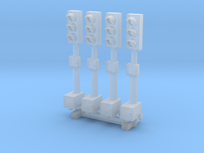 N Scale 4 Temporary Traffic Lights in Smooth Fine Detail Plastic