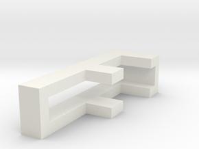 CHOKER SLIDE LETTER F 1⅛, 1¼, 1½, 1¾, 2 inch sizes in White Natural Versatile Plastic: Extra Small