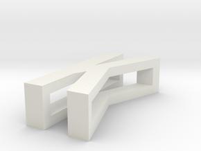 CHOKER SLIDE LETTER K 1⅛, 1¼, 1½, 1¾, 2 inch sizes in White Natural Versatile Plastic: Extra Small
