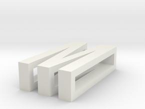 CHOKER SLIDE LETTER M 1⅛, 1¼, 1½, 1¾, 2 inch sizes in White Natural Versatile Plastic: Extra Small