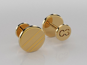 Personalized Stud/Button cufflinks in 14K Yellow Gold
