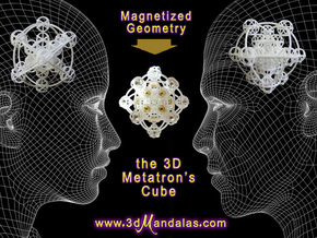 3D Metatron's Cube (add your own magnets) in White Natural Versatile Plastic