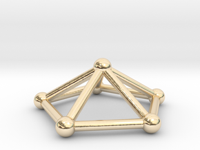 0723 J02 Pentagonal Pyramid V&E (a=1cm) #2 in 14k Gold Plated Brass