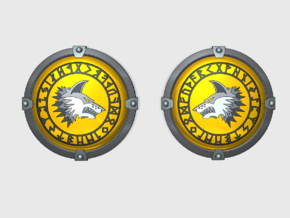Shaggy Wolf - Round Power Shields (L&R) in Smooth Fine Detail Plastic: Small