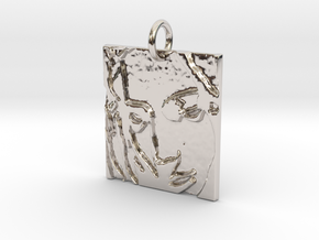 Mother Mary Abstract Pendant in Platinum: Extra Small