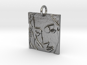 Mother Mary Abstract Pendant in Natural Silver: Large