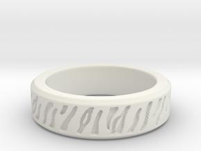Tiger stripe ring multiple sizes in White Natural Versatile Plastic: 5 / 49