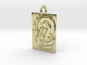 Mother Mary and Infant Christ Abstract Pendant in 18k Gold Plated Brass: Extra Small