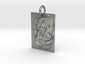 Mother Mary and Infant Christ Abstract Pendant in Natural Silver: Extra Small