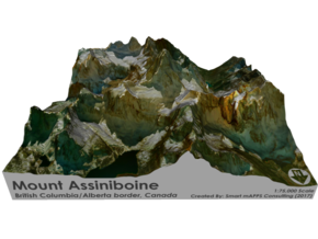Mount Assinibonine Map - Vibrant in Matte Full Color Sandstone