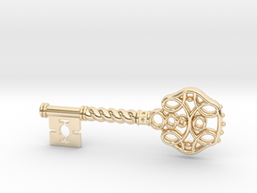 Decorative Key Pendant in 14k Gold Plated Brass