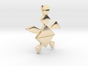 A turtle tangram [pendant] in 14k Gold Plated Brass