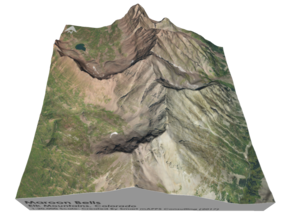 "Maroon Bells Map: 6"" in Matte Full Color Sandstone"
