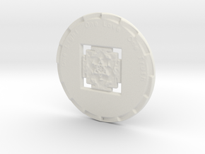 Gayatri Yantra Coin - One Light One Love One Truth in White Natural Versatile Plastic: Extra Small