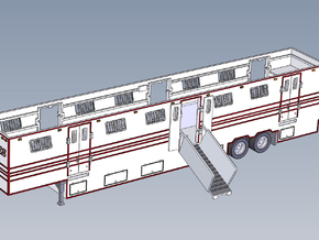 HO  1/87 Horsebox 59' Semi 01 in Smooth Fine Detail Plastic