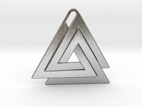 Valknut Pendant - Viking Symbol  in Natural Silver