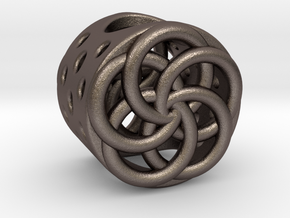 Floral Charm Bead - (Pandora compatible) in Polished Bronzed-Silver Steel