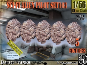 1/56 Sci-Fi Alien Pilots set103 in Smooth Fine Detail Plastic