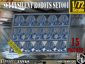1/72 Sci-Fi Silent Robots Set001 in Smooth Fine Detail Plastic