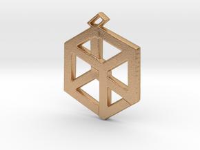 Small Pandora's Box Pendant v2 in Natural Bronze