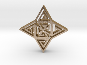 Tribal hangerless pendant 1 in Polished Gold Steel