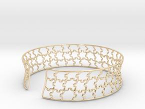 jigsaw pattern cuff in 14k Gold Plated Brass: Medium