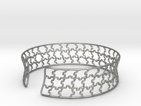 jigsaw pattern cuff in Natural Silver: Medium