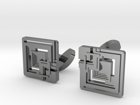 Cufflink - Ennis Block in Fine Detail Polished Silver