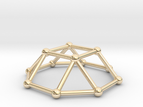 0729 J04 Square Cupola V&E (a=1cm) #2 in 14k Gold Plated Brass