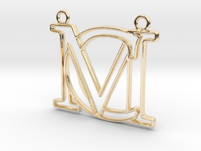 Initials C&M monogram in 14k Gold Plated Brass